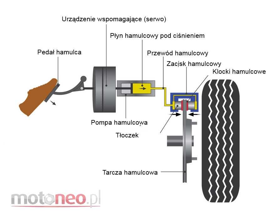 schemat układu hamulcowego tarcze hamulcowe